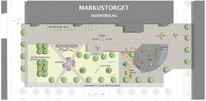 Teknisk service har tillsammans med konsultföretaget Tyréns tagit fram en skiss över hur Markustorget kan se ut i framtiden.