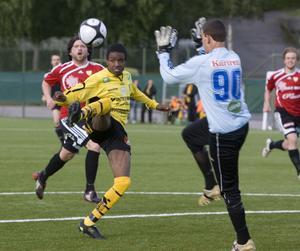 Haime Jansson lyckades inte överlista Stugsunds målvakt.