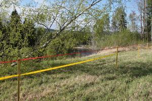 Området vid nipkanten där det rasade är avspärrat.