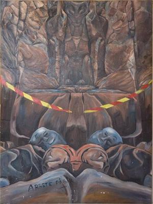 """""""Arbete pågår"""". Konstnären C G Robert antyder att det handlar om kärnavfall i berget. En varnande avspärrning skiljer betraktaren och grottans inre."""