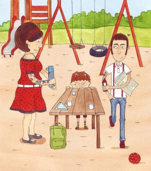 Mirjam växer upp med sin mamma och sin bonuspappa Pierre.