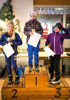 Prispallen för damer tio år. 1. Ruth Olsson, Matfors SK 2. Nellie Sjöberg, Kovlands IF 3. Hanna Löfström Alnö SK