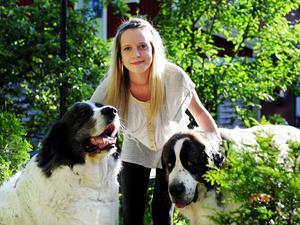 Tre glada face tittar ini kameran, min hund Ella, min dotter Emilia och kompishunden Chorro, hundarna är av rasen