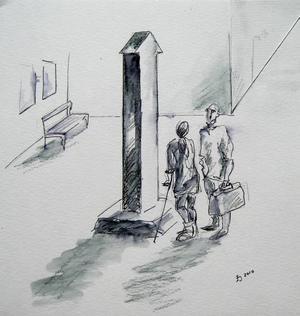 """ENDA VÄGEN UT? En konstnär som fått i uppdrag att utsmycka entrén till ett sjukhus valde att göra en hård skulptur i granit, föreställande en pil som pekar uppåt. """"Jättefin, men många tolkade den som om den enda vägen ut från sjukhuset var uppåt, till himlen"""", berättar forskaren Helle Wijk.  Illustration: Ingela Jönsson"""