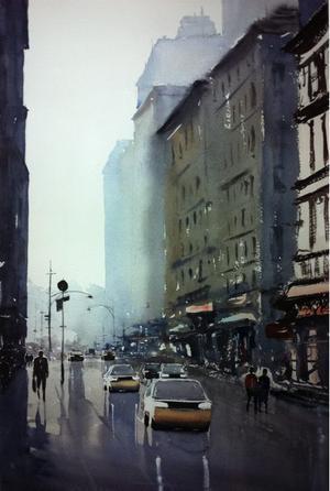 Wet Road, New York heter akvarellen som Benny Stigsson ställer ut i Shanghai.