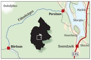 Fäbodvägen är en 41 kilometer lång turistväg strax söder om Oviksfjällen som sträcker sig mellan Persåsen i nordost och Börtnan i sydväst. Karta: Kjell Nilsson-Mäki