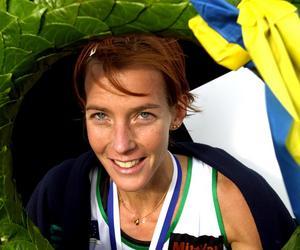 Lena Gavelin, Trångsvikens IF, efter sin vinst av Lidingöloppet 2004. Tid: 1.54.43