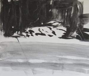 Bengt Svensson jobbar  i svartvitt med kol- och blyertsteckningar.  Inspirationen är slätt- och skogslandskapet i gränstrakten mellan Västmanland och Uppland.