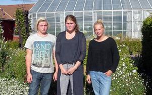 Marcus Mattsson, Emma Molinder och Sofia Hellbom är besvikna – sparkraven slår hårt mot trädgårdslinjens elever. Foto: Per Malmberg/DT