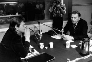 Olof Palme (S) i radiodebatt med Thorbjörn Fälldin (C) 1981.