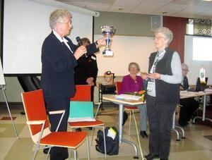 SPF-distriktets friskvårdsansvariga, Pia Backman, överlämnar till Anna-Lisa Eliasson den vandringspokal, som SPF Hårkandalen erövrade för alltid genom sin tredje  seger i distriktets aktivitetstävling.