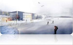 """""""Så här skulle det kunna se ut vid Storsjö strand"""", skriver Nils-Åke Hallström. Illustration: Draknästet"""