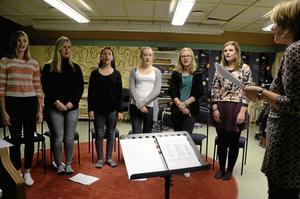 Hela luciaföljet. Från vänster Vanessa Nordström, Tova Sigurdardottir, Tove Ödling, Olivia Bergström, Amanda Magnusson och Lovisa Lindström.
