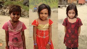 Tre flickor som var prostituerade innan LoveNepal tog hand om dem.