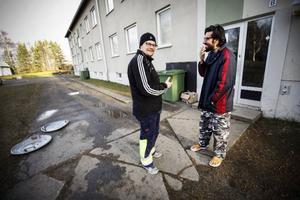 Mårten Anderstig och Ahmed Jaafar i samspråk.– Mårten lär mig fem svenska ord om dagen, säger Ahmed.Foto: Susanne Kvarnlöf