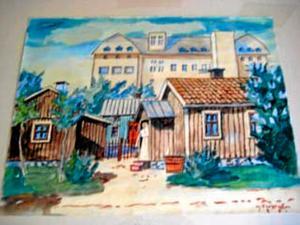 Örebromotiv. Akvarell målad av M Finström. På baksidan står det Örebro kvarn 1929.