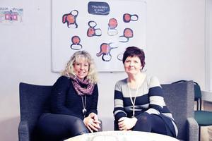 Lotta Hillgren och Kristina Andersson är familjebehandlare på Familjecentralen i Tierp. Stödgruppen ger barnet möjlighet att tillsammans med andra barn få dela upplevelser, känslor och tankar om föräldrars skilsmässa.