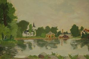 Motiv från Strömbacka. Dör föddes Kalle Bohlin 1906. I början av femtiotalet slog han sig ner i Bergsjö.