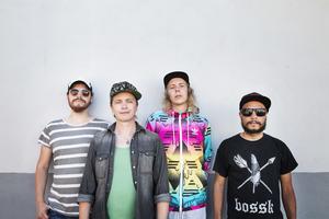 Jens Joel Evaldsson, Viktor Knutsson, Per Alexander Esbjörnsson och Luc Deutschmann i bandet The backbeat conspiracy. På bilden saknas Oliver Deutschmann och Anders Åström.