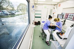 Nu rullar äntligen tandvårdsbussen genom Ångermanland. Efter två års förseningar tar folktandvårdens mobila klinik hand om skolelever i hela länet. I Junsele är inte mindre än tre tandläkare på plats den här veckan för att ta hand om allt från röntgen till lagningar.