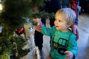 Felix Östlund, 1,5 år, gjorde sitt bästa för att hänga med i låtar som Räven raskar över isen, Vi äro musikanter och Små grodorna.