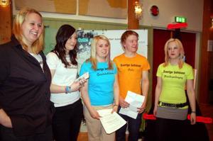 Camilla Wegar, Matilda Näs, Charlotte Subäck, Gabriel Halvarsson och Emelie Frisk går Barn- och fritidsprogrammet. – Vi har bra lärare, man lär sig mycket om sig själv och det är så kul så det känns inte som man går i skolan, tyckte de.