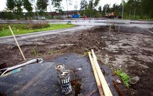 Enda aktuella rondellbygget i Östersund. Kommunen har redan satt i gång bygget av rondellen Litsvägen/Arenavägen medan övriga två planerade rondellerna får vänta på på byggstarten.