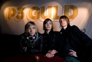 Sugarplum Fairy var nominerade i klassen Årets grupp till P3 musikpris P3 Guld 2008. Carl Norén, Victor Norén och Kristian Gidlund poserar framför skylten.