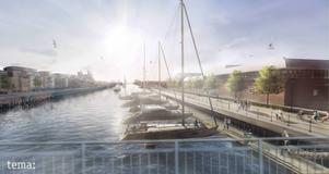 Gävle kommuns skiss för gästhamnen vid Södra Skeppsbron.