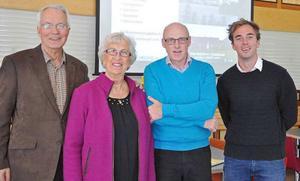 Medverkande vid PRO Leva Livets medlemsmöte, från vänster Tage Levin, Marianne Stålberg, Per Hansson och Kalle Olsson.Foto: Arne Lindström