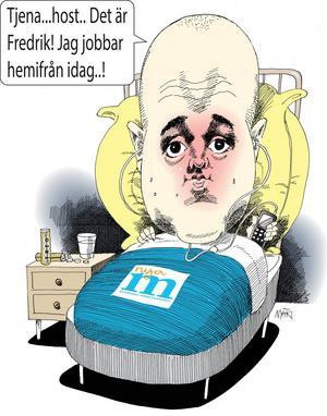 Reinfeldt jobbar hemifrån.