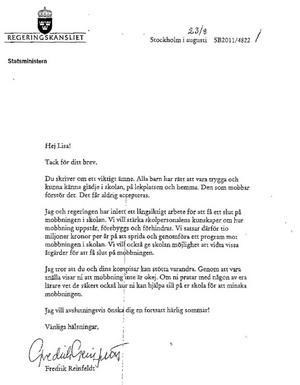 Brevet från statsministern.