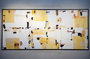 Sex verk som sammanfogats till ett i utställningen på Dalarnas museum.