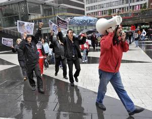 Ett hundratal personer trotsade regnet och demonstrerade mot den iranska regimen på Sergels torg i Stockholm på söndagen.