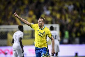 Sveries Ola Toivonen jublar efter 2-1 målet under fredagens VM-kval match  grupp bb9a0c26dc1be
