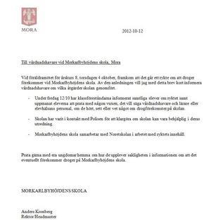 12 oktober skickade rektor Anders Kronberg det här brevet till föräldrarna.