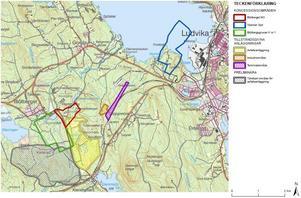 Länsstyrelsen är oroliga för gruvafallet nära riksintresset Klenshyttan, markerat med gulstreckat och grått på kartan