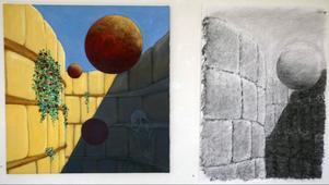 Sonja Nyh varierar sina motiv i både kolteckning och akryl. Syns just nu på Härke konstcentrum.