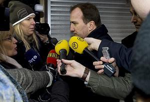 IF Metalls förbundsordförande Stefan Löfvén anländer till Socialdemokraternas partihögkvarter på Sveavägen i Stockholm för söndagens VU möte.