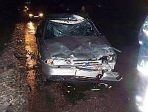 Foto: JOHAN PIHLBLAD Trafikolycka. Kollisionen mellan en häst och en bil på Järbovägen blev så kraftig att bilens front och tak fick rejäla skador.