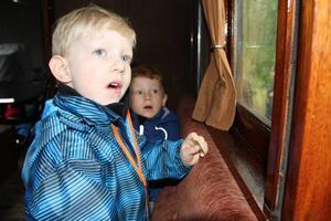 Nils Eisenhut och Maximus Kollstedt uppskattar att åka tåg.