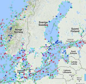 Skärmdump från Marine Traffic, ögonblicksbild från torsdag 19:e oktober ca kl 15:30.