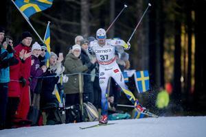 Johan Olsson under herrarnas 15 km fri stil i en världscuptävling i Ulricehamn i januari 2017.