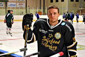 Backen Andrew Peterson, var en av Sollefteå Hockeys bättre borta mot Piteå.