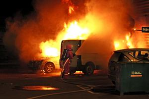 Bilbränderna spreds från Malmö över hela landet och drabbade även Örebro.