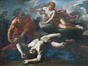 Artemis har tagit livet av sin älskade Orion. Italienaren Daniel Seiters målning från 1685.