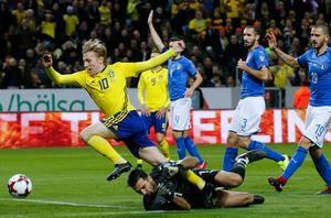 Emil Forsberg var nära att göra 1–0 för Sverige. Foto: TT.