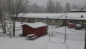 Kl 12 i Kopparberg - och snön fortsätter att falla. Just nu ligger cirka en halv decimeter på marken, berättar Jarmo som tagit läsarbilden.