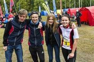 Medelpads förstalag slutade på 13:e plats i stafetten på söndagen. Från vänster: Gustav Fränell, Nils Lundgren, Frida Vikström, Sara Nilsson.