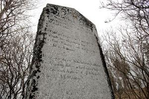 Sju verser av J O Wallin och Julius Brun själv finns på stenen men är i dag nästan oläsliga.